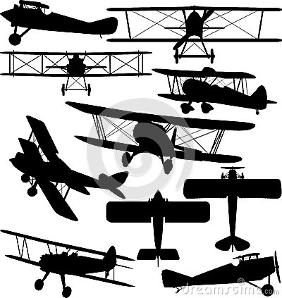 Free Silhouettes Of Old Aeroplane - Biplane Stock Images - 44259904