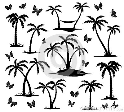 Free Silhouettes Of Palm Trees Royalty Free Stock Images - 41199189