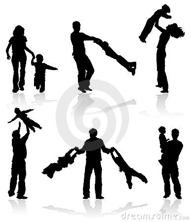 Free Silhouettes Of Parents With Children Royalty Free Stock Photography - 1974027