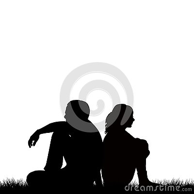 Free Silhouettes Of Sad Couple Sitting Back To Back Stock Images - 127011944