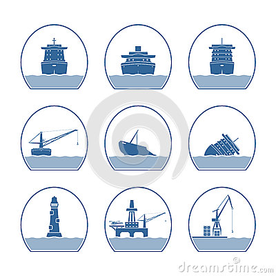 Free Silhouettes Of Ships And Marine Structures Stock Photo - 46068490