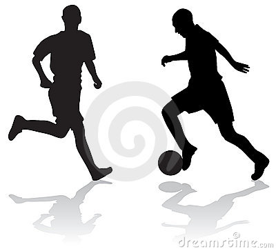 Free Silhouettes Of Soccer Players Royalty Free Stock Images - 3092359