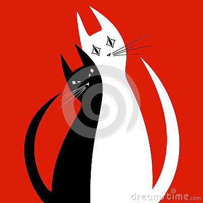 Free Silhouettes Of Two Cats In Love Royalty Free Stock Images - 59834419