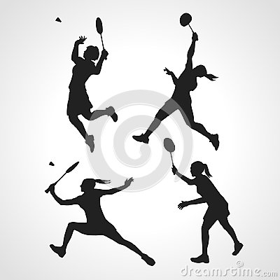 Free Silhouettes Of Women Professional Badminton Players. Vector Set Royalty Free Stock Photography - 52271727