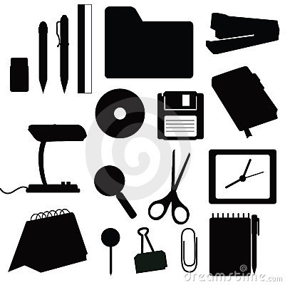 Silhouettes office items