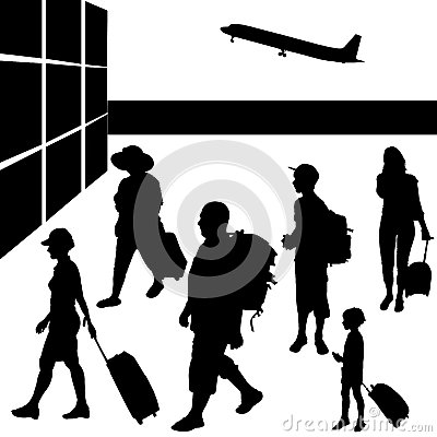 Silhouettes of people with baggage.