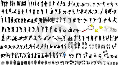 Silhouettes of people and children
