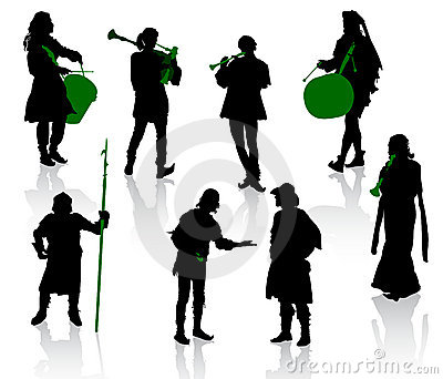 Silhouettes of people in medieval costumes.