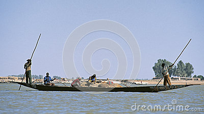 Silhouettes of people on Niger river Editorial Photography