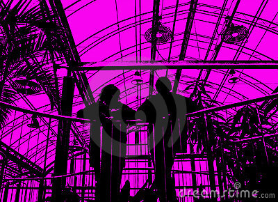 Silhouettes of people on pink