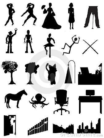 Silhouettes people, robots, offices, scenes