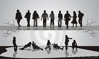 Silhouettes of people. Youth