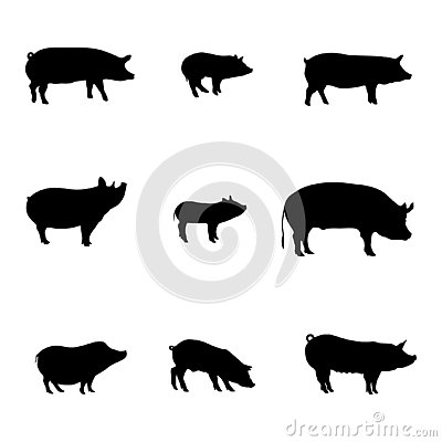 Silhouettes of Pigs. Happy New Year. Meat shop. Vector Vector Illustration