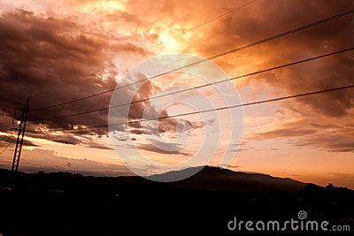 Silhouettes of the power lines