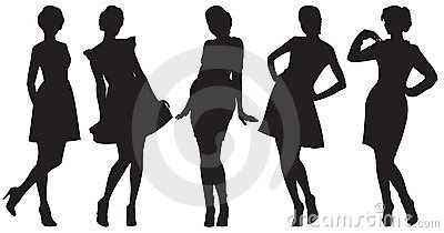 Silhouettes of pretty women