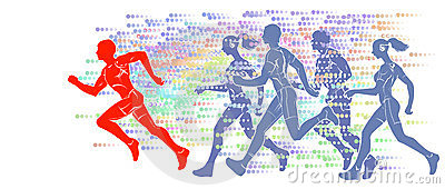 Silhouettes of running athletes