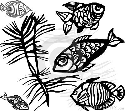 Silhouettes of sea fishes