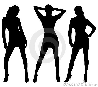 Silhouettes of sexy women