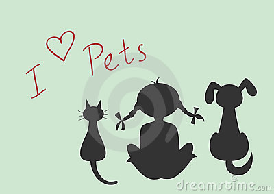 Silhouettes of sitting cat, dog and little girl
