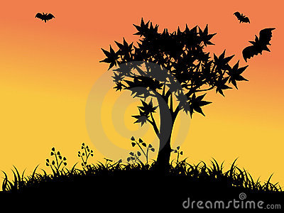 Silhouettes of tree and bats