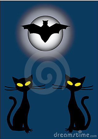Silhouettes of two black cats and bat at night