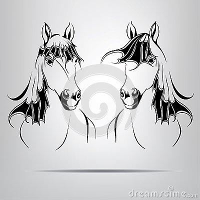 Silhouettes of two horses. vector illustration
