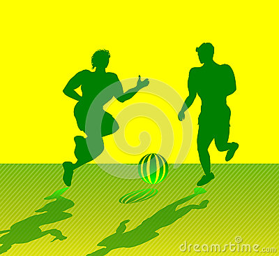 Two Muscular Men Playing Soccer