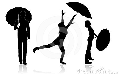 Silhouettes with umbrellas