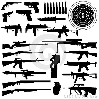 Silhouettes of weapons, guns