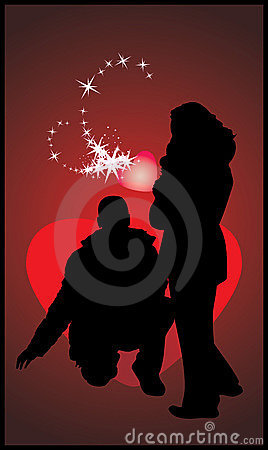 Silhouettes of woman and man. Romance composition