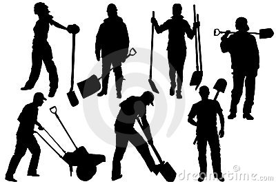Silhouettes of workers with manual shovel