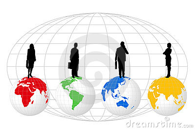 Silhouettes on World Globes