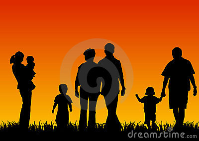 Silhouettes of young people with children