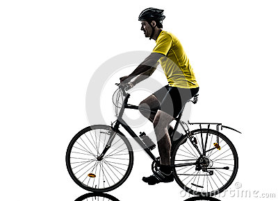 Silhueta bicycling do Mountain bike do homem