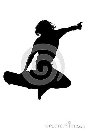 Silhueta com o trajeto de grampeamento do menino adolescente no salto do skate
