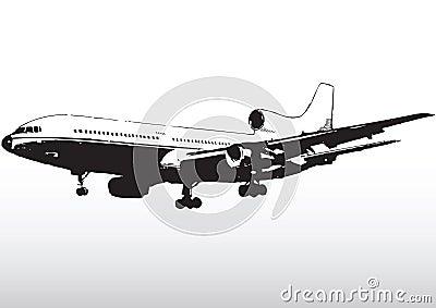 Silhueta da linha aérea comercial