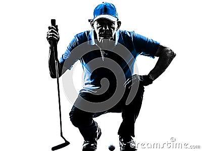 Silhueta de agachamento golfing do jogador de golfe do homem