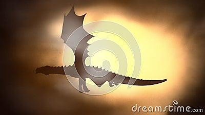 Silhueta de Dragon Flying Against o Sun que acena suas asas ilustração stock
