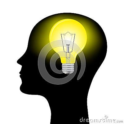 Silhueta de um homem com uma lâmpada principal
