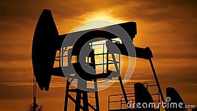 Silhueta de um jaque da bomba de óleo na operação com o por do sol alaranjado bonito no fundo video estoque