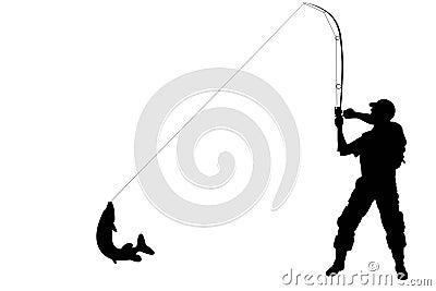 Silhueta de um pescador com um peixe do pique