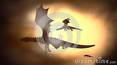 Silhueta de um rebanho de Dragon Flying Against o Sun que acena suas asas ilustração royalty free