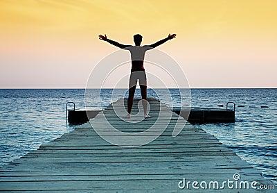Silhueta do homem calmo livre no por do sol