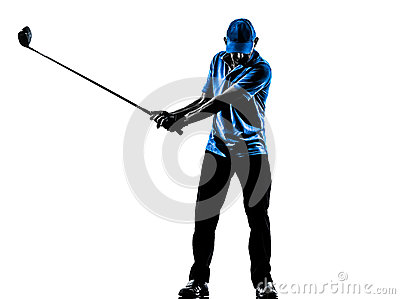 Silhueta golfing do balanço do golfe do jogador de golfe do homem
