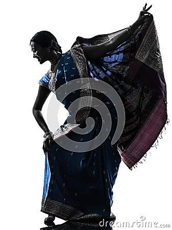 Silhueta indiana da dança do dançarino da mulher