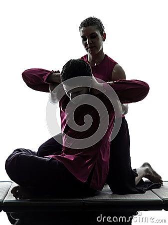 Silhueta tailandesa da massagem