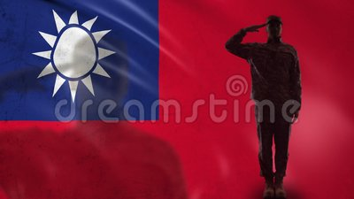 Silhueta taiwanesa do soldado que sauda contra a bandeira nacional, forças da beira filme