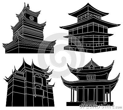 Silhuetas chinesas do pagoda