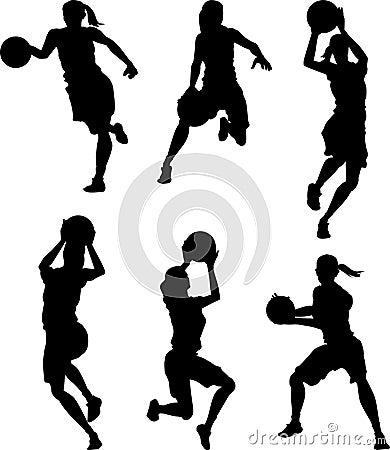 Silhuetas da fêmea do basquetebol