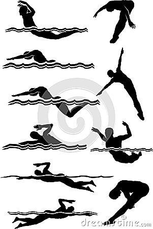 Silhuetas da natação & do macho do mergulho